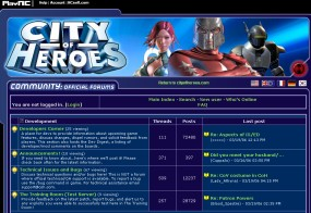 The main City of Heroes forums/boards